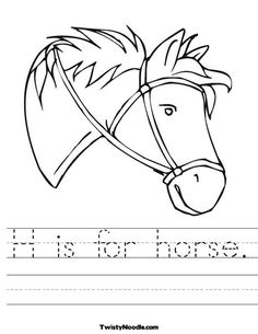 """H is for Horse Worksheet: cute, cartoony, shows a functional (bitless) bridle, I'd refine those ears and have a larger nostril (horses """"drink the wind"""" when running) Animal Worksheets, Preschool Worksheets, Free Worksheets, Farm Activities, Kindergarten Activities, Farm Lessons, Riding Lessons, Horse Coloring Pages, Coloring Sheets"""