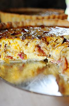 Cowboy Quiche, Ree Drummond. Coult make a GF crust or just skip it entirely. I would add tiny diced tomatoes to this. I have to say - Quiche should be made with heavy cream. True.