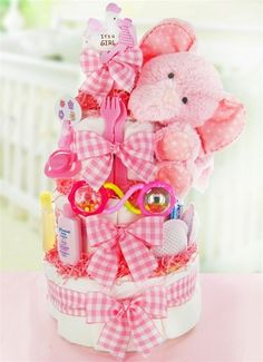 Gingham & Giggles Pink Elephant 3 Tier Baby Girl Diaper Cake - As Your Baby Grows Gift Boutique Baby Shower Diapers, Baby Shower Cakes, Baby Shower Parties, Baby Shower Themes, Baby Shower Decorations, Baby Shower Gifts, Shower Ideas, Shower Party, Party Party