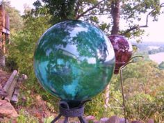 "Gazing Ball Glass Lawn Garden 12"" Blue Turquoise"