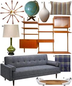 A little mid-century modern living room set. Love it!