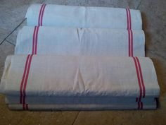 french antique linen: linen piece of fabric whith red stripes, 10 meters. on sale for 70€ on brocanteetcuriosite.com