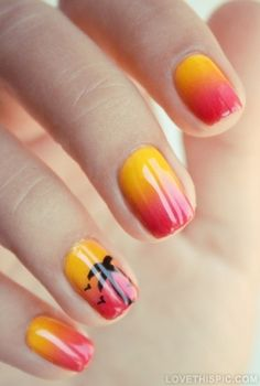 Cute ombre nails girly cute nails! PLEASE DO THESE IF YOU ARE GOING TO HAWAII OR SOMEWHERE TROPICAL IN THE SUMMER!