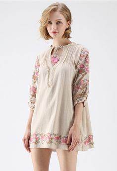Boho Florist Tassel Embroidered Tunic in Sand beige Lace Tops, Chiffon Tops, Unique Fashion, Floral Mesh Top, Mode Boho, Embroidered Tunic, Eyelet Dress, Brown Ankle Boots, Models