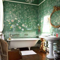 Bathroom Wallpaper black and white floral rose wallpaper and a pedestal sink | shop