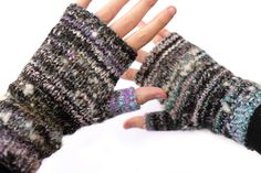 Hand spun fingerless mittens | by suziesparkle