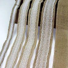5M Natural Jute Burlap Hessian Ribbon Tape Lace Trims Rustic Wedding Decor Craft