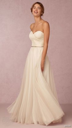 bhldn fall 2015 wedding dresses strapless ruched criss cross sweetheart neckline romantic modified a line wedding dress calla gown -- BHLDN Fall 2015 Wedding Dresses