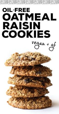 Oil-Free Oatmeal Raisin Cookies (Vegan + GF) - FeastingonFruit.com http://www.feastingonfruit.com/oil-free-oatmeal-raisin-cookies-vegan-gf/