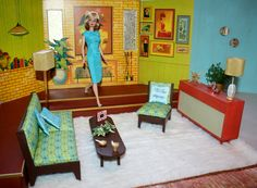 Retro Barbie living room with newly made furniture and vintage 1964 cardboard backdrop by Matte Barbie Dream, Bad Barbie, Barbie Toys, Vintage Barbie Dolls, Barbie And Ken, Barbie Stuff, Barbie Clothes, Barbie Diorama, Barbie Furniture