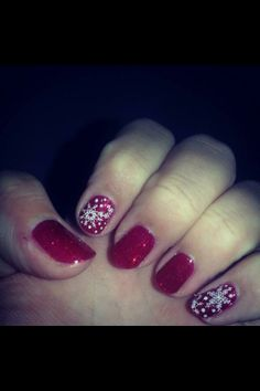 Red with snowflakes nail art #FestiveFingertips