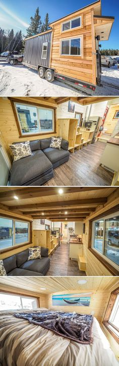 From Calgary, Alberta-based Blackbird Tiny Homes is the Crow, a 24-foot off-grid tiny home on wheels. The off-grid solar power package includes two 165-watt solar panels, four 6-volt AGM maintenance free batteries, a charge controller, and a Magnum 2000-watt inverter/charger.