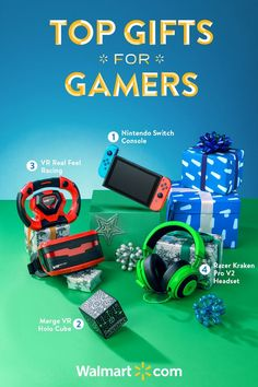Earn some serious cool points with all the gamers in your life with these great holiday gift ideas at Walmart. From the latest and greatest VR technology to the hottest gear for gamers - you'll find it all at a price you'll love. Shop today.  Top Gifts for Gamers include: 1) Nintendo Switch Console, 2) Merge VR Holo Cube, 3) VR Real Feel Racing, 4) Razer Kraken Pro V2 Headset.