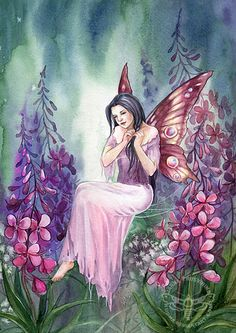 Fireweed by JannaFairyArt on DeviantArt * Fairy Myth Mythical Mystical Legend Elf Faerie Fae Wings Fantasy Elves Faries Sprite Nymph Pixie Faeries Hadas Enchantment Forest Whimsical Whimsy Mischievous