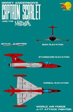 Gerry Andersons Captain Scarlet Attack Fighte by ArthurTwosheds on DeviantArt Old Tv Shows, Kids Shows, J 17, Ufo Tv Series, Thunderbirds Are Go, Sci Fi Tv, Science Fiction Art, Science Fiction, Airplanes
