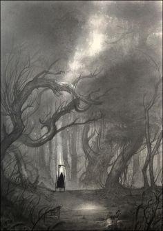 The Death by Olivier-Villoingt.deviantart.com on @deviantART. Death on his carriage in a dark forest.