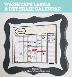 Washi Tape Labels http://thecraftingchicks.com/2013/03/washi-tape-labels-dry-erase-calendar.html