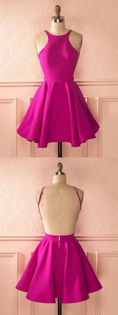 cute hot pink homecoming dress, 2017 homecoming dress, backless homecoming dress, simple homecoming dress