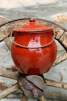 Small Enamel red pot / sauce pan  Antique by HistoireDAntan