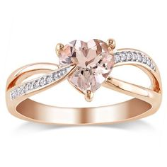 10K Rose Gold, Diamond and Morganite Heart Shaped Ring, (.05 cttw, GH Color, I1-I2 Clarity)