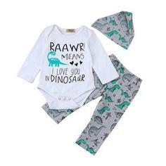 TM Newborn Baby Boys Letter Romper Camouflage Pants Hat 3PCS Outfits Clothes Sets Fulltime