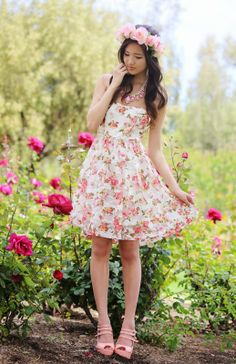 We spotted our favorite flower child embracing spring in this lovely Charlotte Russe floral dress! See more on her blog - ♡ Romantic Fawn ♡. Shop her dress: http://www.charlotterusse.com/product/entity/262310.uts