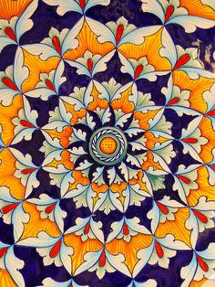 "mandala Orange / blue - Vibrant & beautiful - Reminds me of ""Mexican tiles""! Pretty Patterns, Arabesque, Mandala Art, Islamic Art, Sacred Geometry, Graphic, Textures Patterns, Textiles, Drawings"