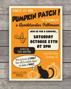 "Halloween Party Invitation ""Party at the Pumpkin Patch"". $16.00, via Etsy."