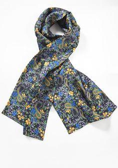 Tuchschal Blumenmotiv dunkelblau