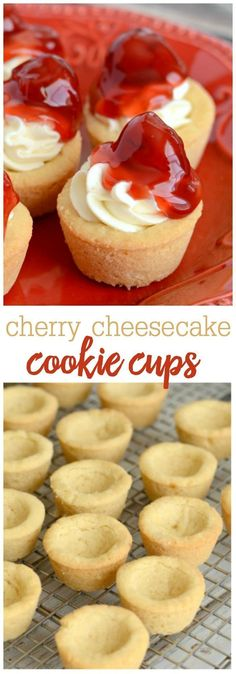 Mini Cherry Cheesecake Cookie Cups - All the flavor of cherry cheesecake, served in mini sugar cookie cups! They're super easy to make and are perfect for serving a crowd! (Dessert Recipes For A Crowd) Mini Desserts, Easy Desserts, Delicious Desserts, Baking Desserts, Cherry Desserts, Cherry Cheese Cake Recipes, Lemon Desserts, Cookie Desserts, Plated Desserts