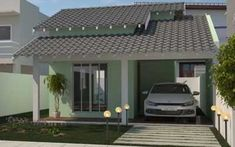 Fotos de telhados casas simples e pequenas | Decorando Casas House Architecture Styles, Zen, Small House Plans, Simple House, Beautiful Homes, Pergola, Sweet Home, Cottage, Construction