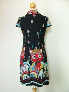 Vtg 60 Boho Hippie Retro Cap Fantasy Cat Casual Acrylic Party Tunic Top Dress | eBay