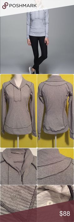 Lululemon Think Fast Pullover Lululemon Think Fast Pullover in mini pique check in white heathered slate, Size 8, very gently worn and in great condition with no flaws. Buttery soft Rulu fabric is sweat wicking and four way stretch, added Lycra fibre bends with you and stays in great shape, flip up the versatile collar to stay cozy or unzip it for ventilation, cuffin finger covers keep your hands warm, secure storage for keys/cards/cash, reflective details help you shine bright in low light…