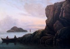 """Carl Gustav Carus: """"Evening at the sea"""", About 1820-1825, Oil on canvas mounted on wood, Dimensions: 49.5 × 70.5 cm, Current location: Kunsthalle Bremen, Germany."""