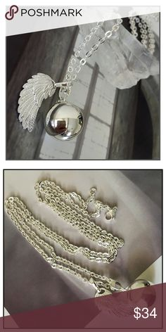 """✨Angel Wing """"Angel Caller"""" Chime Ball Necklace✨ ✨Angel Callers come in a variety is shapes and sizes but all emit a gentle chime as the pendant moves✨Legend has it that you can call you guardian angel by ringing the chime. in some cultures expectant mothers wear a caller to soothe the baby before and after pregnancy.✨Angel Callers have also been used since medieval times for protection✨Today, many people wear them to soothe themselves during stressful situations.✨They emit a soft and magical…"""