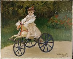 Claude Monet, (French, 1840–1926). Jean Monet (1867–1913) on His Hobby Horse, 1872. The Metropolitan Museum of Art, New York. Jean Monet (1867–1913) on His Hobby Horse (2000.195) #horses
