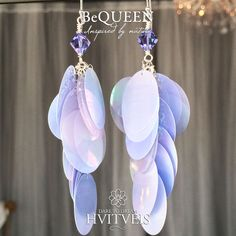Handmade BeQueen silver earrings with Swarovski crystals