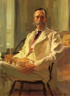 """""""Man with the Cat (Henry Sturgis Drinker),"""" oil on canvas, Cecilia Beaux. 1898."""