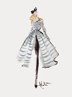 Atlantic-Pacific striped dress illustration by Paper Fashion
