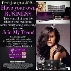 I am looking for YOU to join my team!!!! ! If you love makeup and are looking for a way to work fro home THIS IS IT!!!!!  If you have the drive, the motivation and desire to run your own business then LETS TALK!! Your Kit will include over $400 worth of product. You also will get a FREE WEBSITE for LIFE! Unlimited access TO ME to help you all the way, and SO MUCH MORE! Best part of all YOU GET PAID DAILY!!!! Are you ready to join this amazing company??