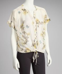 Take a look at this Ivory Butterfly Lace Top by Taaj & Truck Jeans Gold on @zulily today!