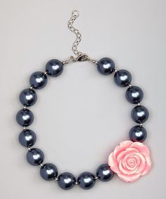 This Gray & Pink Flower Bead Necklace is perfect! #zulilyfinds