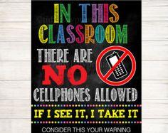 No Cellphones Allowed School Poster, Classroom Decor, Classroom Management INSTANT DOWNLOAD, Classroom Poster, no phones sign, No Phone Zone