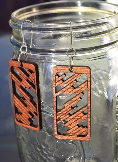 Laser Cut Mahogany Wood Earrings by poiesisDesign on Etsy, $22.00