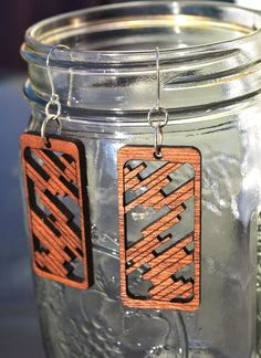 Laser Cut Mahogany Wood Earrings by poiesisDesign on Etsy, $22.00