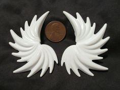 Vintage 80s White #Angel Pegasus Wings #Fairy Clip-On  #Earrings #jewelry #retro #Vintage #clipons