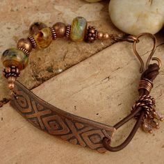 Copper,leather and bead bracelet