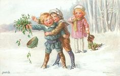 girl catches protesting boy, holding mistletoe, away at arms length, smaller girl holds doll right & observes