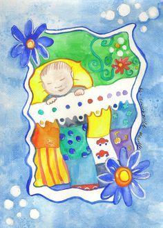 World of dream Nursery Illustration baby boy Original Watercolor Painting by Niina Niskanen Nursery Paintings, Nursery Art, Painting & Drawing, Watercolor Paintings, Watercolor Paper, Watercolors, Printable Cards, Boy Printable, Original Artwork