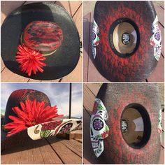 Sugar skull Lace Red and black Custom cowboy hat Hand painted Cowgirl hat Unique hat Custom creations